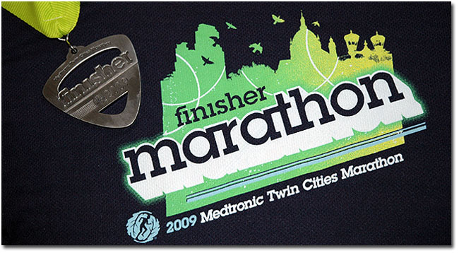twin cities marathon finisher shirt and medal